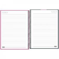 Caderno Espiral Capa Plástica Universitário 1 Matéria Neon Rosa 80 Folhas Tilibra