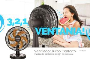 Ventilador Turbo 126W Conforto 40cm Cadence 220V VTR478