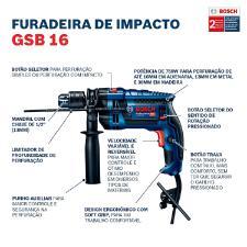 Furadeira de Impacto Bosch 750W GSB 16 RE 220V