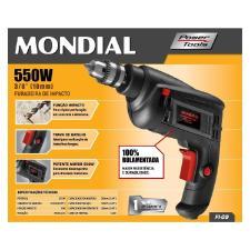 Furadeira De Impacto 550W Mondial FI-09 Mandril 3/8 Pol 220V
