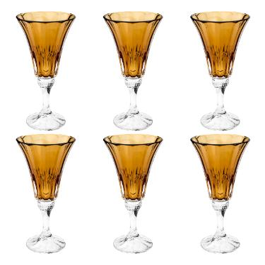 Jogo de taças água em cristal Bohemia Wellington 6 peças 280ml âmbar