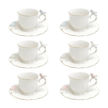 Jogo de xícaras para café em porcelana Wolff Birds Roud 6 peças color